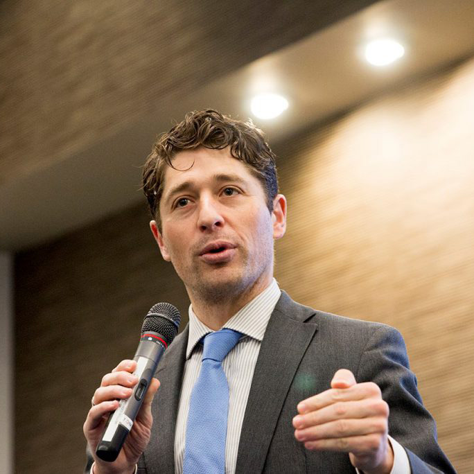 Minneapolis Mayor Jacob Frey speaks to United Way Emerging Leaders on Feb. 1.