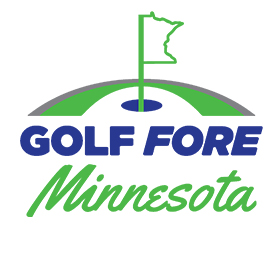 Golf Fore Minnesota Logo - Blue and green text with an image of Minnesota as a golf flag
