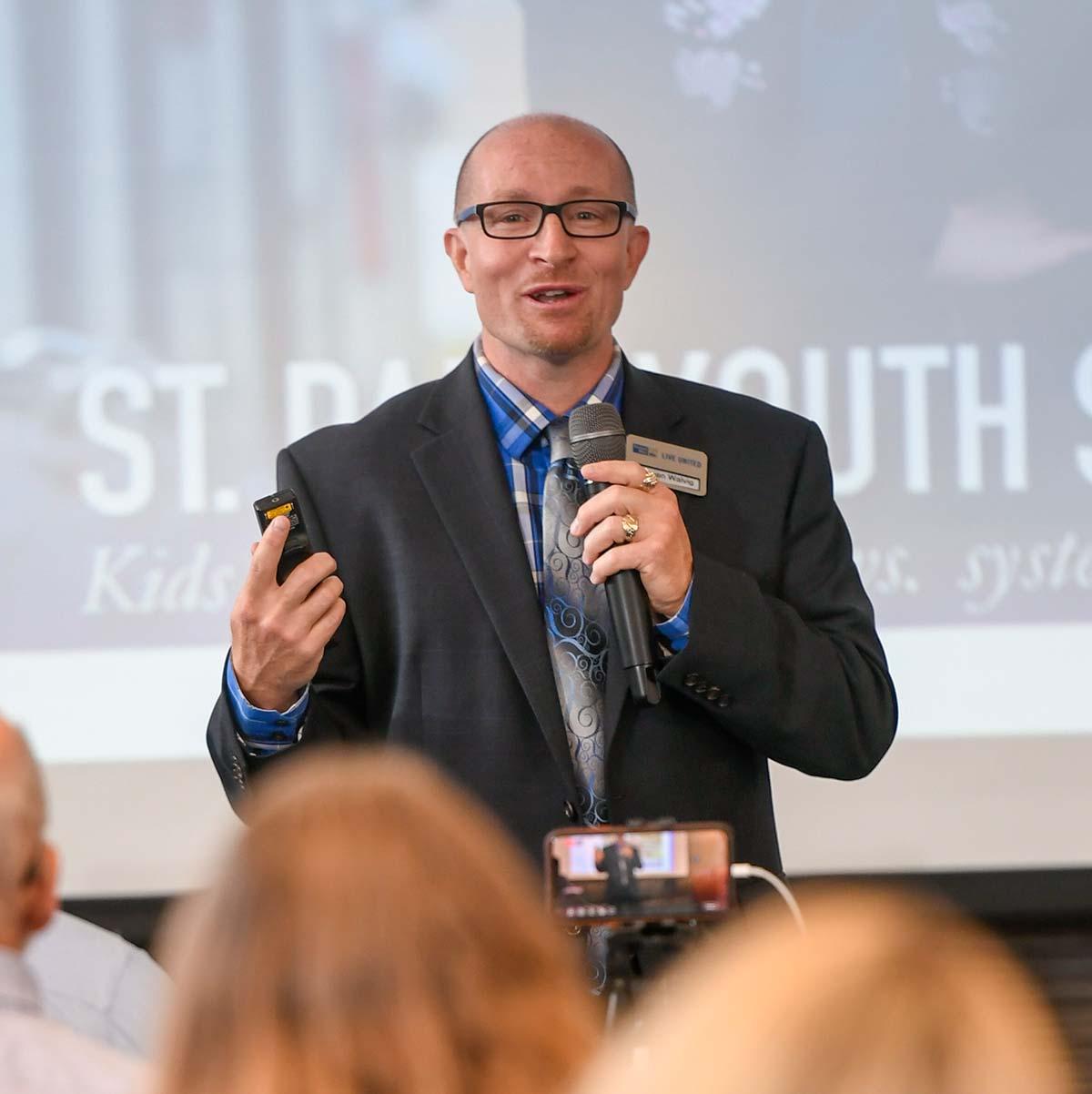 Steven Walvig speaking at United Way's Community Insight Session Sept 2019